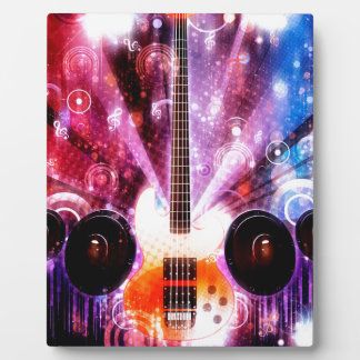 Grunge Guitar with Loudspeakers 3 Display Plaques