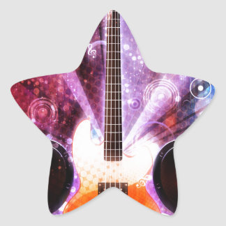 Grunge Guitar with Loudspeakers 3 Star Sticker