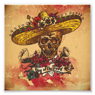 Grunge,halloween,skull,mexican hat,day of the dead photo print
