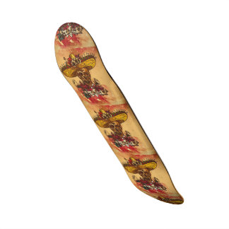 Grunge,halloween,skull,mexican hat,day of the dead 19.7 cm skateboard deck