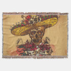 Grunge,halloween,skull,mexican hat,day of the dead throw blanket