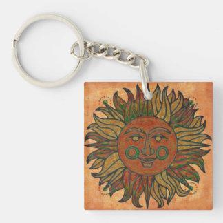 Grunge Harvest New Age Sun Single-Sided Square Acrylic Key Ring