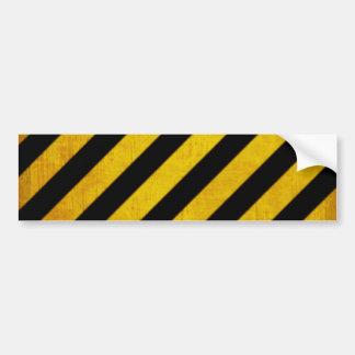 Grunge hazard stripe bumper sticker