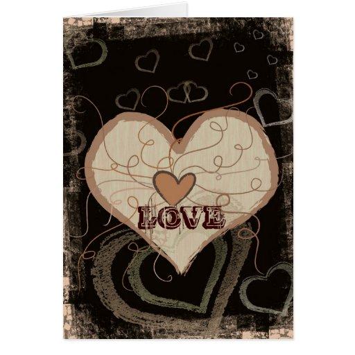Grunge heart love card