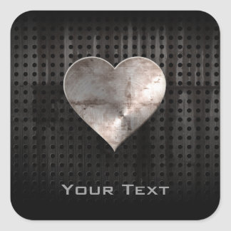 Grunge Heart Square Stickers