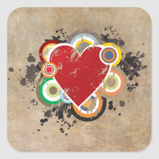 Grunge Heart with Rings Square Sticker