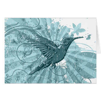 Grunge Hummingbird Notecards Card