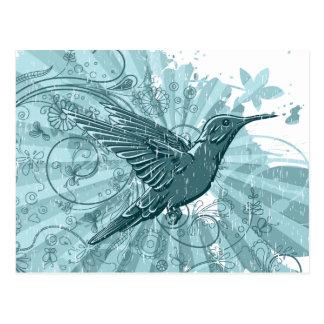 Grunge Hummingbird Postcard