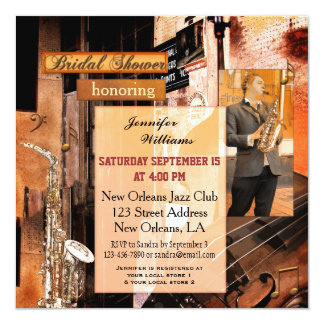 Grunge Jazz Music Bridal Shower Invitation