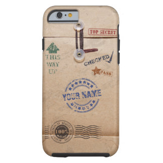 Grunge Kraft Envelope Stamps Pattern Monogram Tough iPhone 6 Case