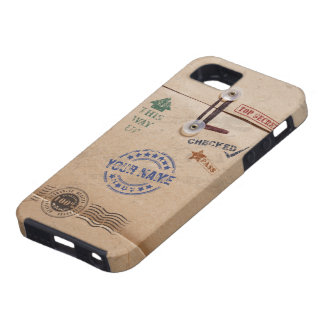 Grunge Kraft Envelope with Stamps and Custom Name iPhone 5 Cover