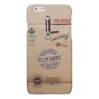 Grunge Kraft Envelope with Stamps Custom Monogram Glossy iPhone 6 Case