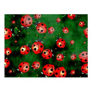 Grunge Ladybugs Postcard