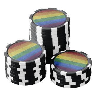 Grunge LGBT Rainbow Flag Poker Chips