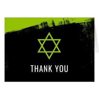 Grunge Lime Green Black Bar Mitzvah Thank You Card