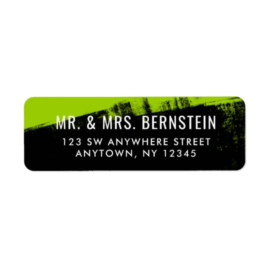 Grunge Lime Green Black Return Address Return Address Label