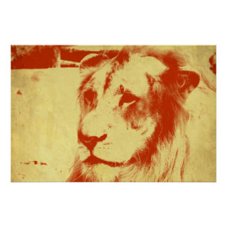 Grunge Lion Poster