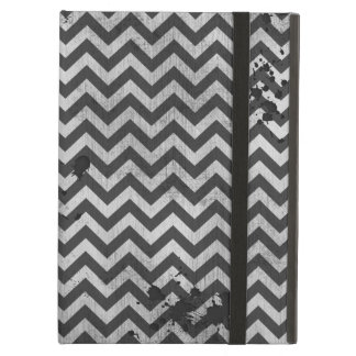 Grunge Look Distressed Chevron Pattern in Greys iPad Cases