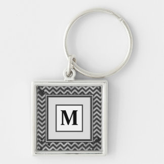 Grunge Look Distressed Chevron Pattern in Greys Silver-Colored Square Key Ring