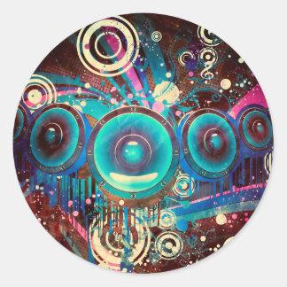 Grunge Loud Speakers 2 Classic Round Sticker