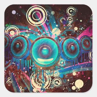 Grunge Loud Speakers 2 Square Sticker