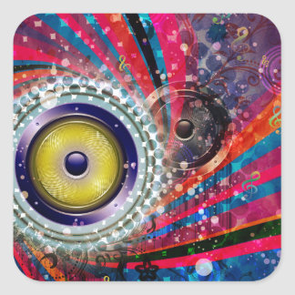 Grunge Loud Speakers Square Sticker