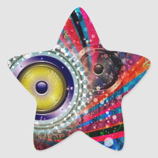 Grunge Loud Speakers Star Sticker