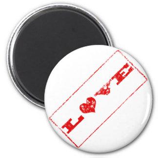 Grunge Love Rubber Stamp Magnet