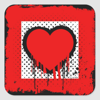 Grunge love square sticker
