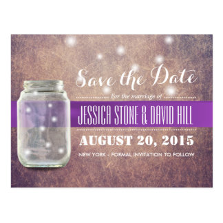 Grunge Mason Jar & Fireflies Save the Date Postcard