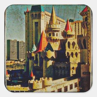 Grunge Medieval Castle Square Sticker