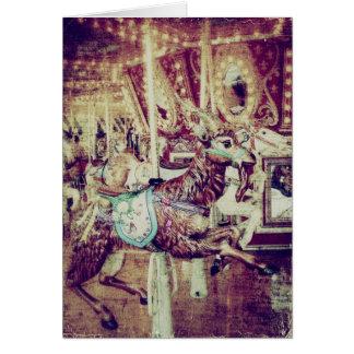 Grunge Merry-Go-Round Goat Card