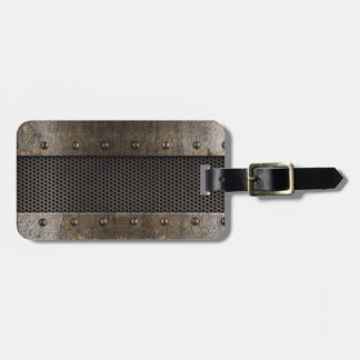 Grunge metal background luggage tag