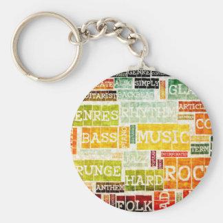 Grunge Music Background Keychain