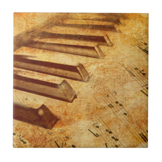 Grunge Music Sheet Piano Keys Ceramic Tile