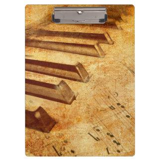 Grunge Music Sheet Piano Keys Clipboard