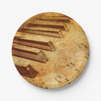 Grunge Music Sheet Piano Keys Paper Plate