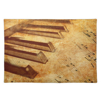 Grunge Music Sheet Piano Keys Placemat