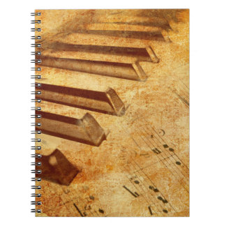 Grunge Music Sheet Piano Keys Spiral Notebooks