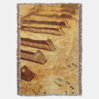 Grunge Music Sheet Piano Keys Throw Blanket