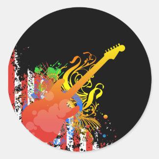Grunge N Stripes Classic Round Sticker