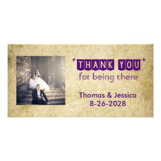 Grunge Old Vintage Thank You Card Personalized Photo Card