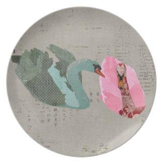 Grunge Olive & Blush Swans Plate