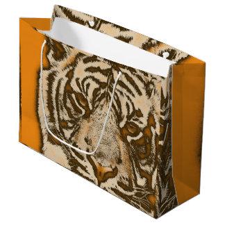 Grunge Orange Abstract Tiger Large Gift Bag