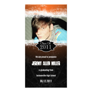 Grunge Orange Black Graduation Photo Card
