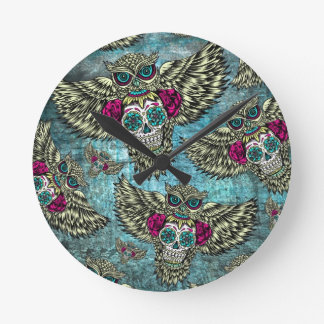 Grunge Owls with sugar skulls Round Clock