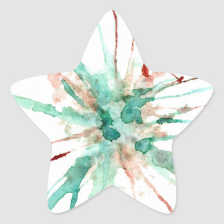 Grunge Paint Splatters green Star Sticker