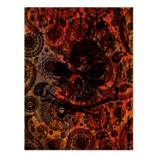 Grunge Paisley and Fire Skull and Crossbones Postcard