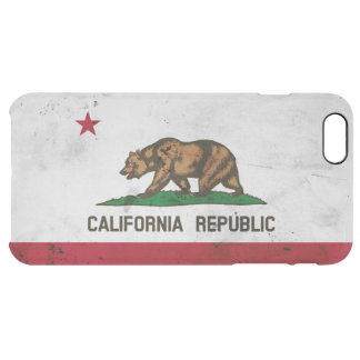 Grunge Patriotic California State Flag Clear iPhone 6 Plus Case