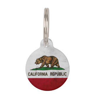 Grunge Patriotic California State Flag Pet Name Tag